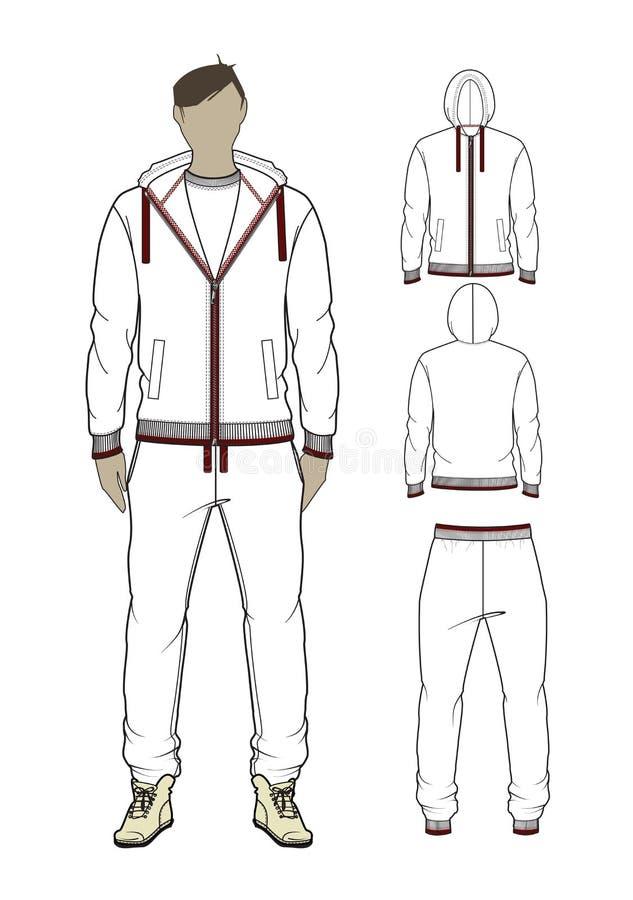 Hombre del vector cremallera-por sudadera con capucha y sweetpants ilustración del vector
