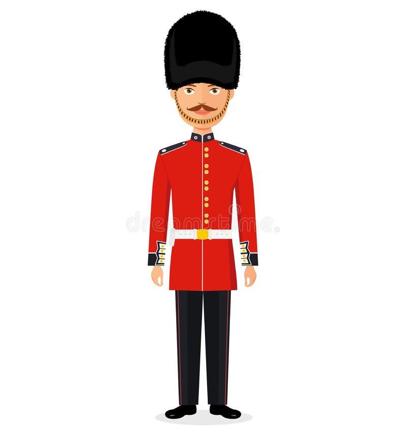 Hombre del vector de Illustration del guardia de la reina en soldado británico uniforme tradicional libre illustration