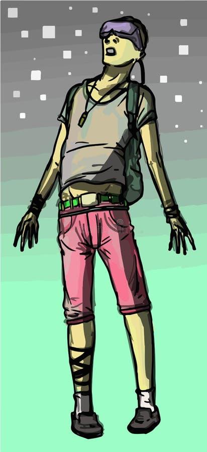 Hombre del vector que lleva las auriculares de la realidad virtual que flotan en realidad virtual libre illustration