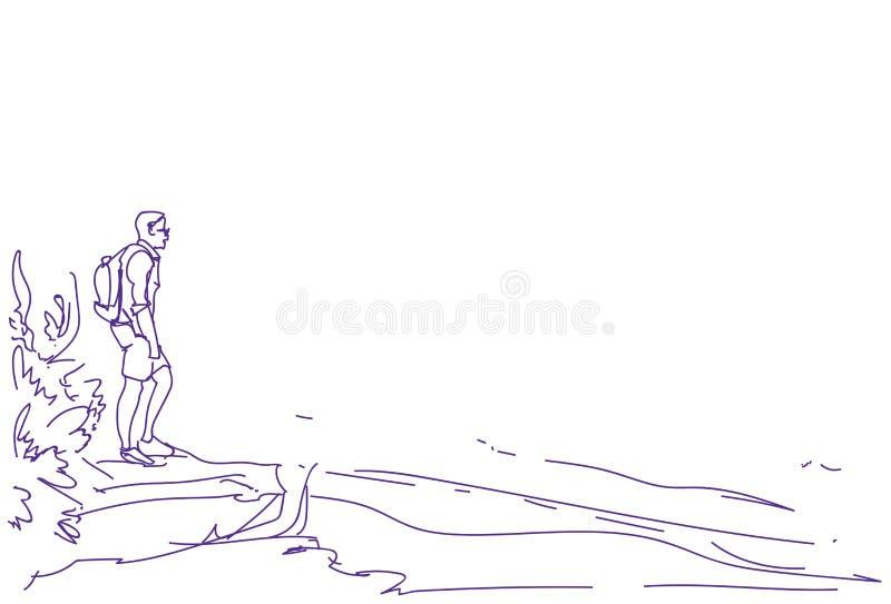 Hombre del viajero del bosquejo con la mochila que mira al individuo abstracto dibujado mano vacía del turista del caminante del  libre illustration