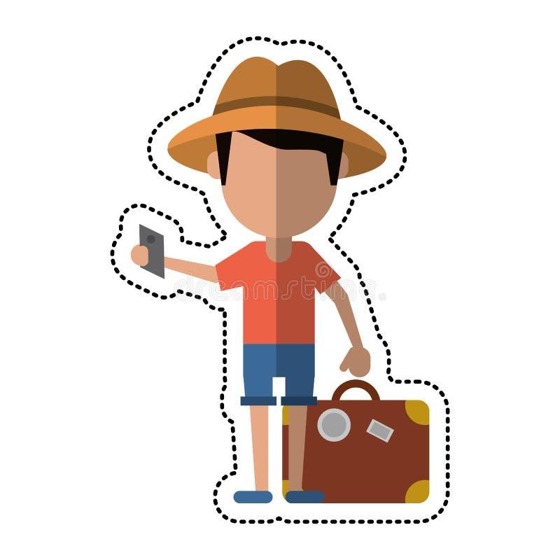 Hombre del viajero de la historieta con el pasaporte de la maleta libre illustration