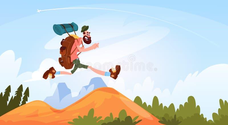 Hombre del viajero que camina en la sonrisa feliz de las montañas con la mochila grande stock de ilustración