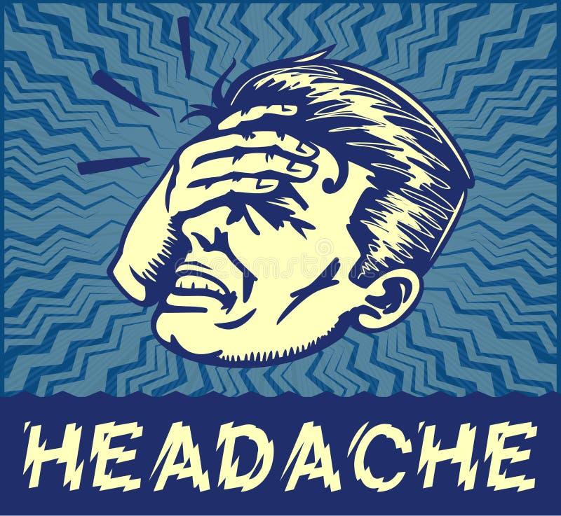 Hombre del vintage que sufre el ejemplo doloroso del clipart del vector del dolor de cabeza ilustración del vector