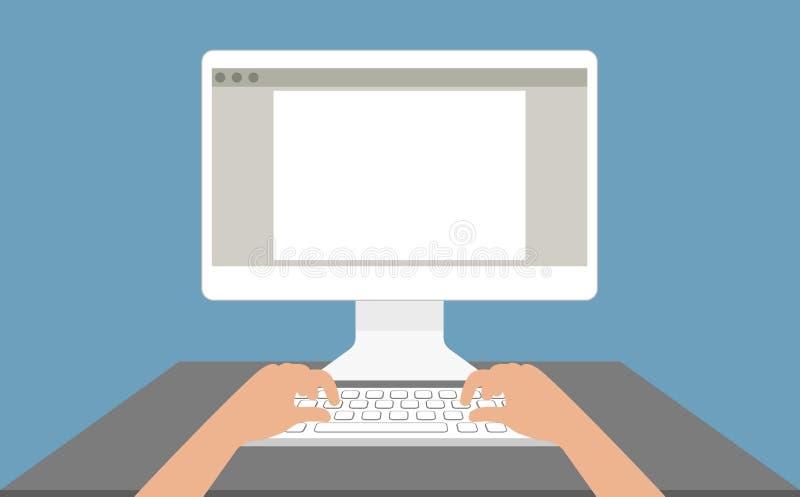 Hombre delante de un monitor de computadora en el estilo plano del lugar de trabajo stock de ilustración
