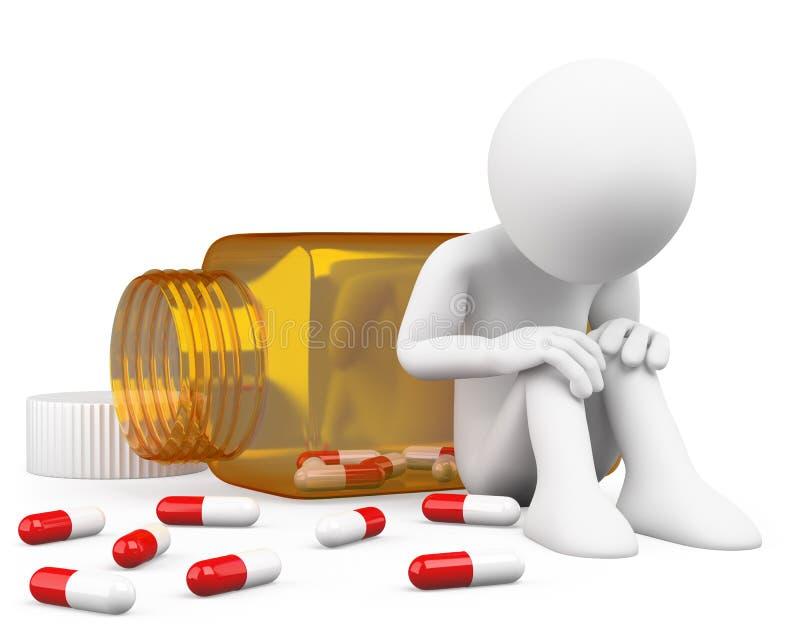 hombre deprimido 3D que toma píldoras ilustración del vector