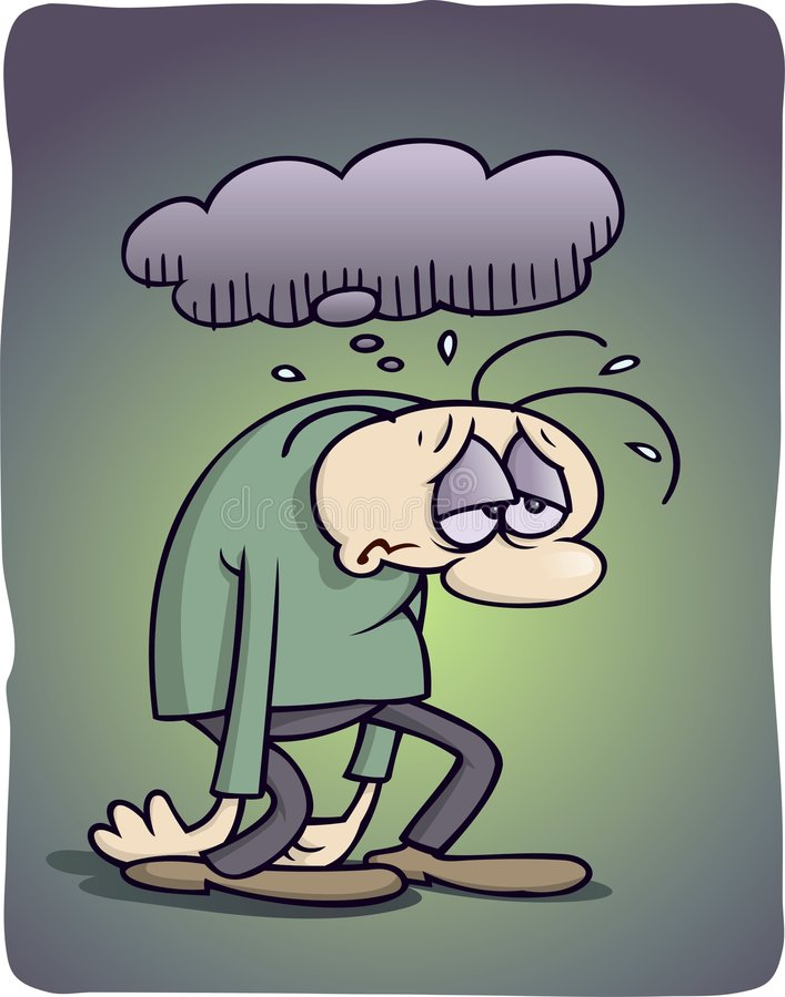 Hombre deprimido stock de ilustración