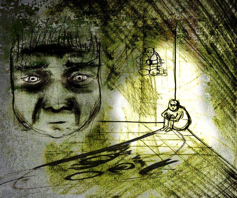 Hombre deprimido sucio stock de ilustración
