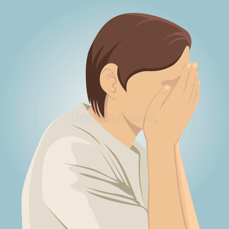 Hombre deprimido triste ilustración del vector