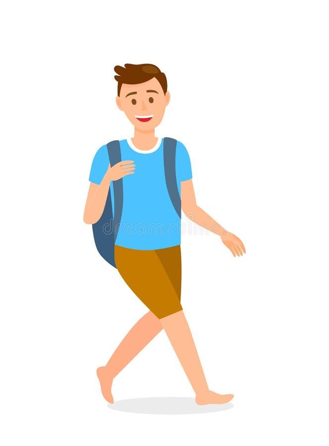 Hombre descalzo con el personaje de dibujos animados de la mochila ilustración del vector