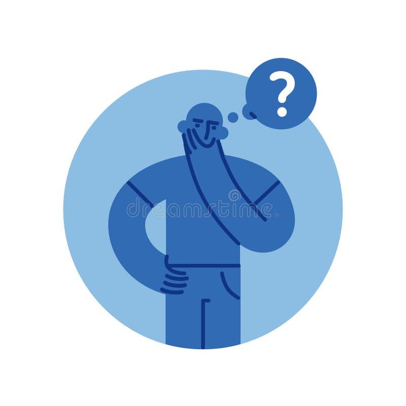 Hombre desconcertado que piensa con el ejemplo plano del estilo del signo de interrogación libre illustration