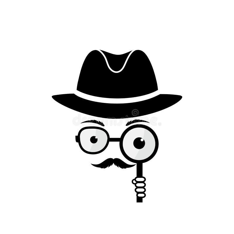 Hombre desconocido con un bigote en sombrero, gafas y una lupa a disposición inspector Icono detective stock de ilustración