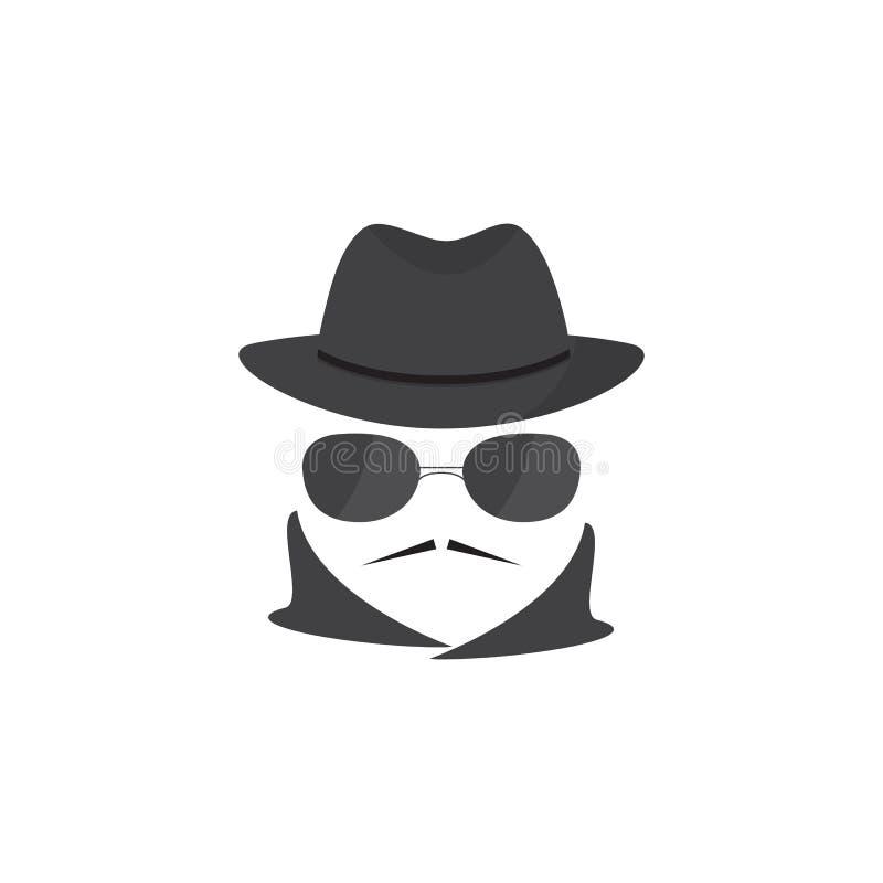 Hombre desconocido con un bigote en sombrero y vidrios mafioso Agente secreto gángster ilustración del vector