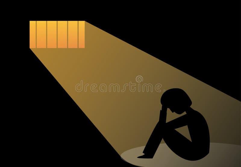 Hombre desesperado en la cárcel, arte del vector stock de ilustración