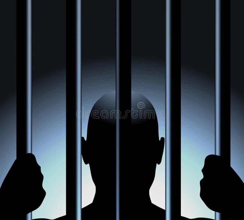 Hombre detrás de barras de la prisión stock de ilustración