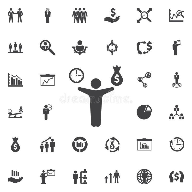 Hombre, dinero e icono del tiempo ilustración del vector