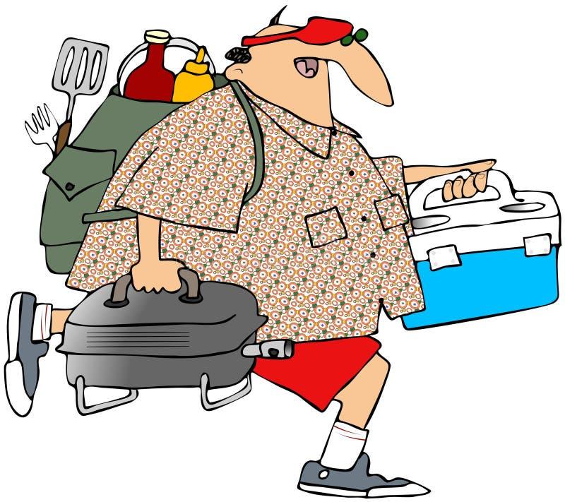 Hombre dirigido a una comida campestre libre illustration