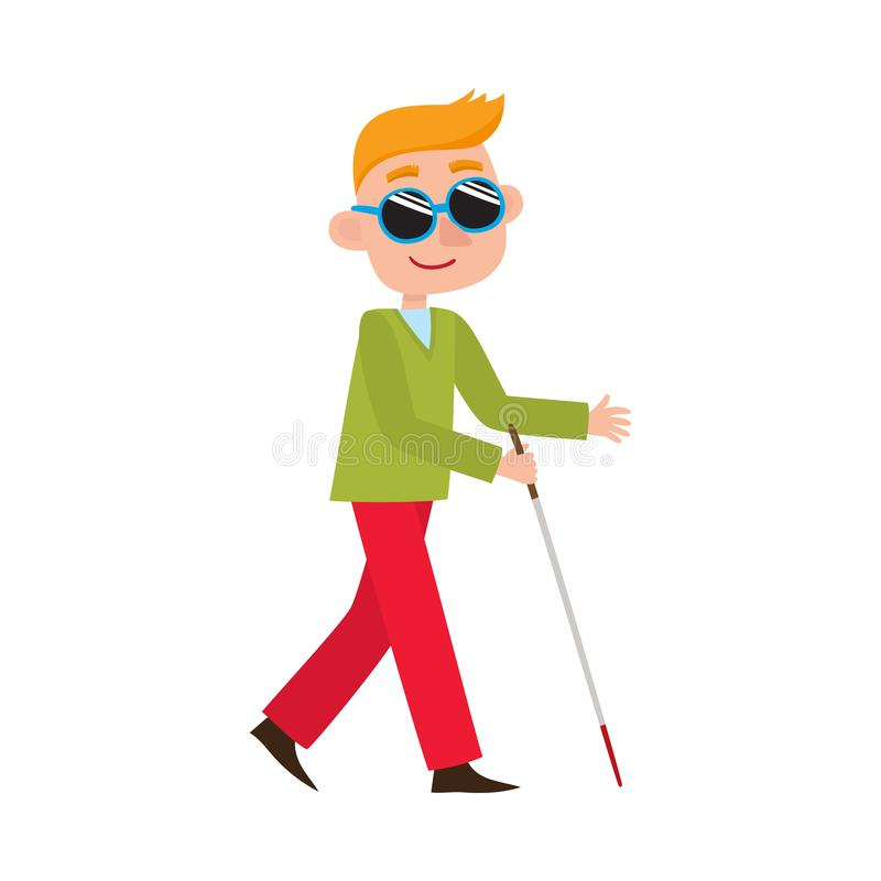 Hombre discapacitado completamente ciego del vector en gafas de sol libre illustration