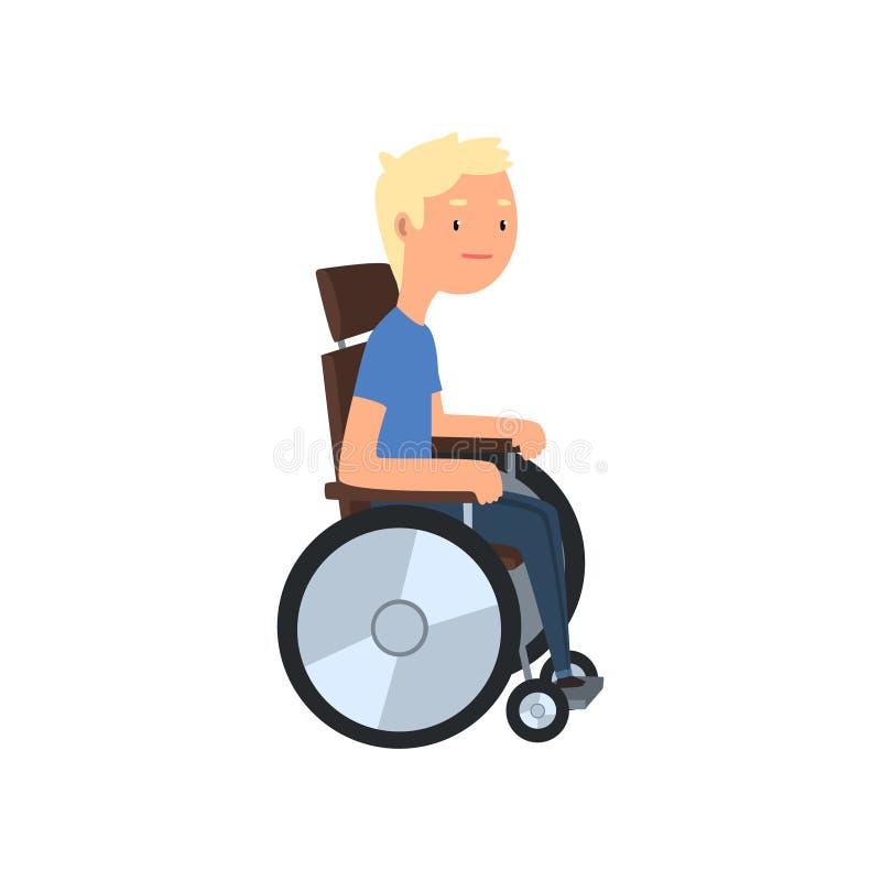 Hombre discapacitado en la silla de ruedas, rehabilitación del ejemplo del vector del concepto de las personas discapacitadas en  libre illustration