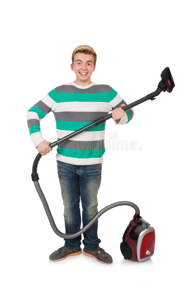 Download Hombre Divertido Con El Aspirador Foto de archivo - Imagen de housekeeping, doméstico: 41914992