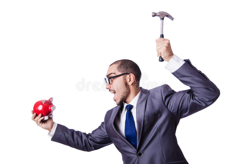 Hombre divertido con el piggybank fotos de archivo libres de regalías