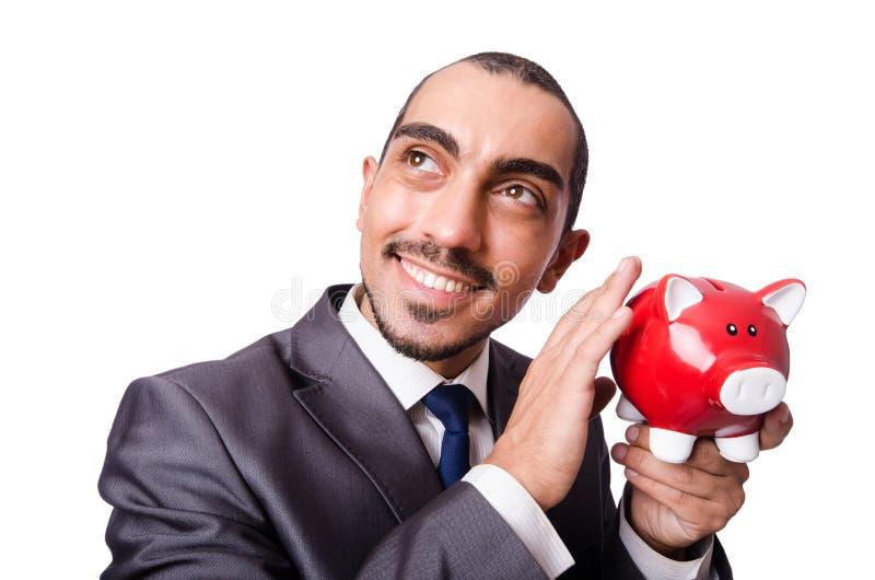 Hombre divertido con el piggybank fotografía de archivo libre de regalías