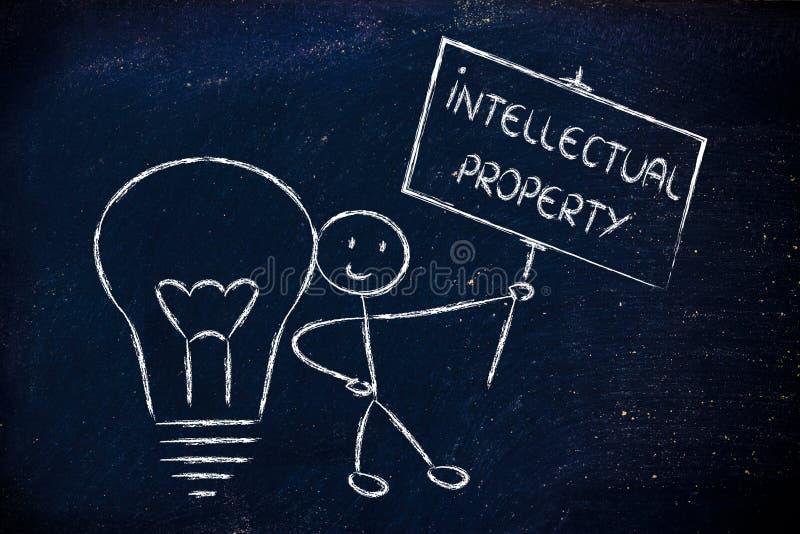 Hombre divertido con su idea, concepto del propietario de los derechos de autor de intelectual imagen de archivo libre de regalías