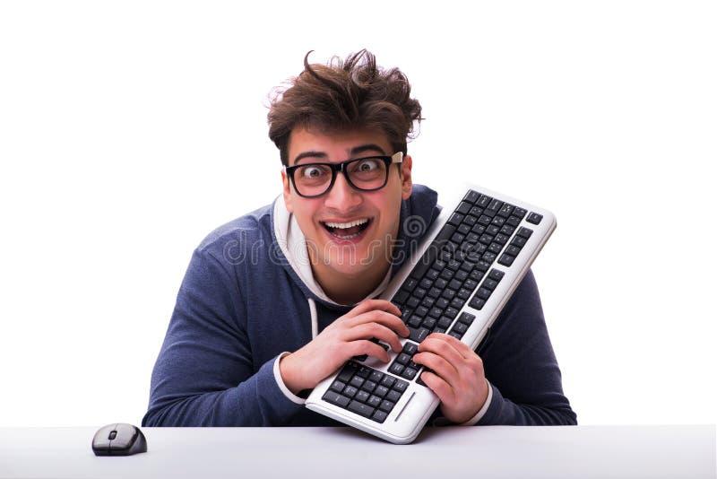 Hombre divertido del empollón que trabaja en el ordenador aislado en blanco imágenes de archivo libres de regalías
