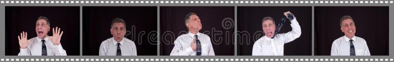 Hombre divertido en cabina de la foto de la alameda de compras foto de archivo libre de regalías
