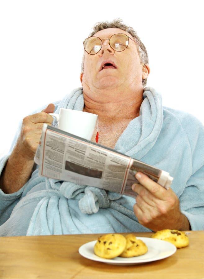 Hombre Dormido En El Desayuno Fotos de archivo libres de regalías