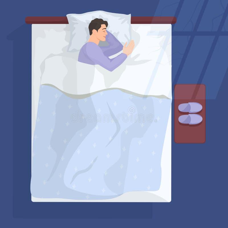 Hombre durmiente en malo en la noche cerca de la ventana Ilustración del vector libre illustration