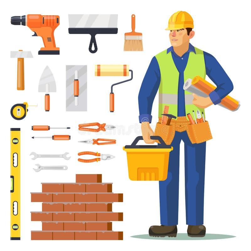Hombre e iconos del constructor para la construcción de edificios libre illustration