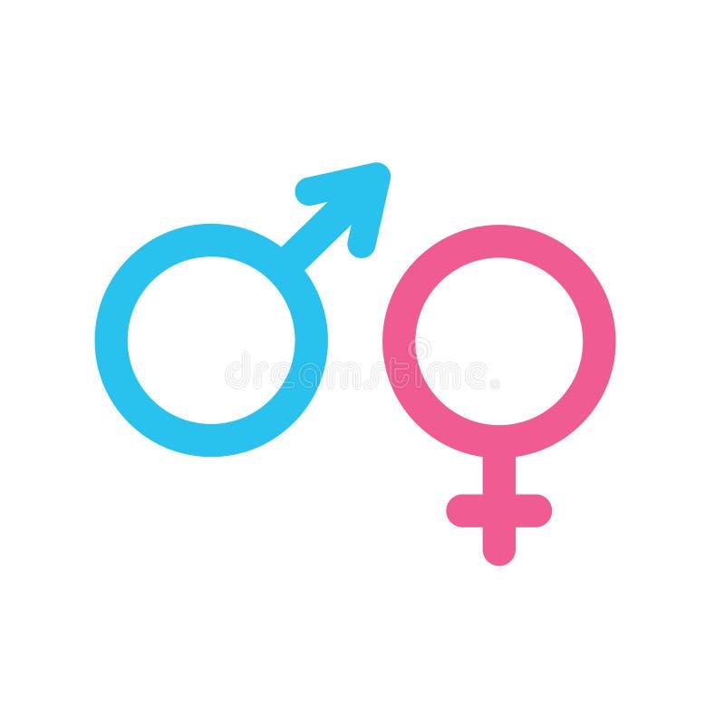 Hombre e iconos femeninos ilustración del vector