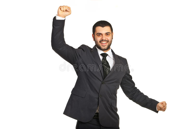 Hombre ejecutivo feliz que anima fotos de archivo libres de regalías