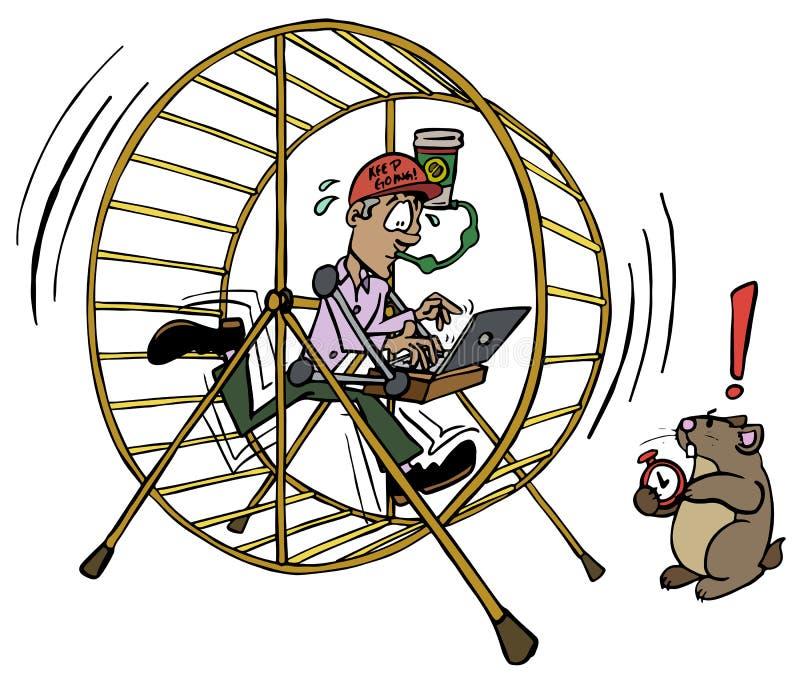 Hombre ejecutivo que trabaja dentro del trabajo de la rueda del hámster ilustración del vector