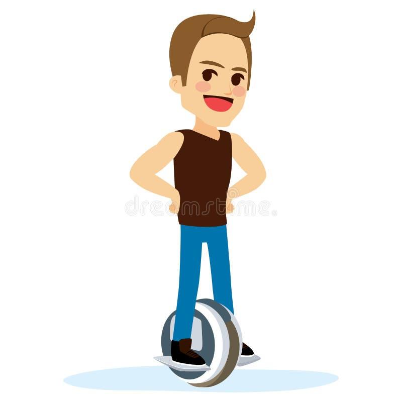Hombre eléctrico del unicycle stock de ilustración