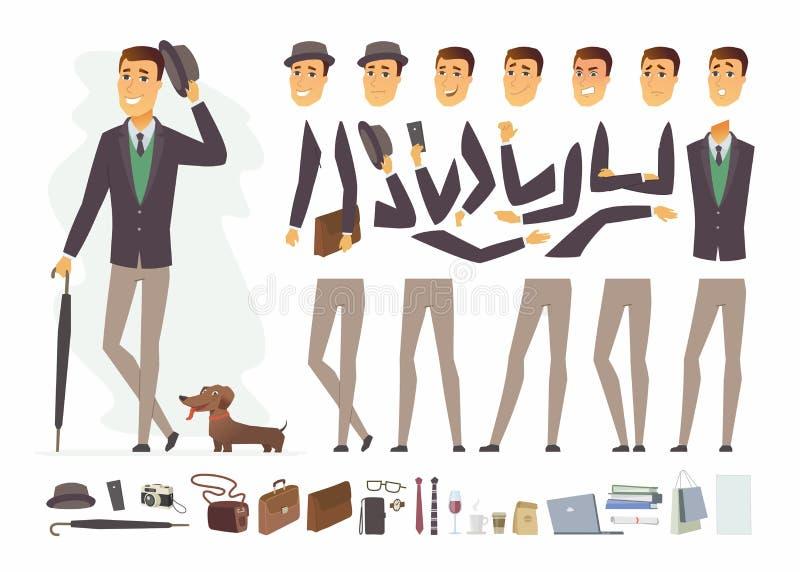 Hombre elegante - vector el constructor del carácter de la gente de la historieta libre illustration