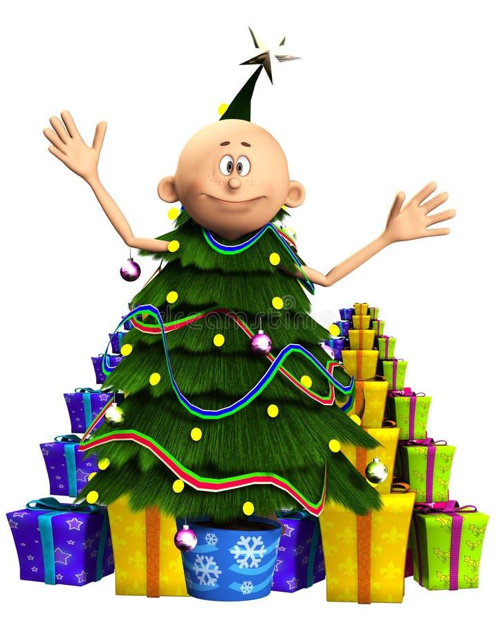Hombre en árbol de navidad y regalos ilustración del vector
