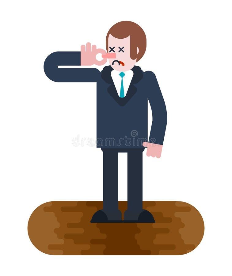 Hombre en alcantarilla hedor Mún olor Nariz de Close del hombre de negocios Individuo y ilustración del vector