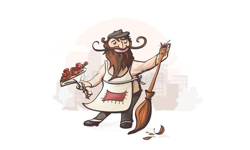 Hombre en amor Arte del portero con la escoba ilustración del vector