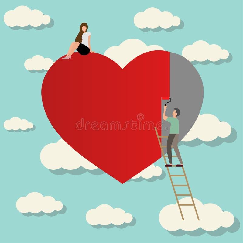 hombre en amor con el corazón de pintura de la muchacha ilustración del vector