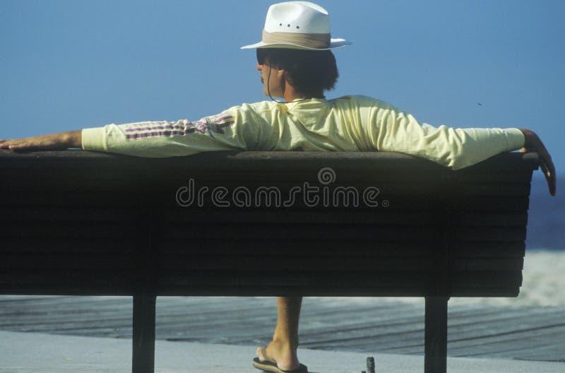 Hombre en banco de detrás en la playa, Laguna, CA imagen de archivo