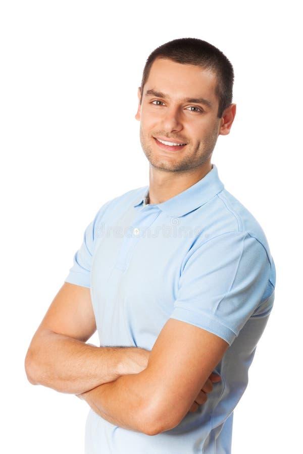 Hombre en blanco imagen de archivo
