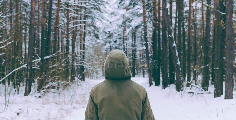 Hombre en bosque imágenes de archivo libres de regalías