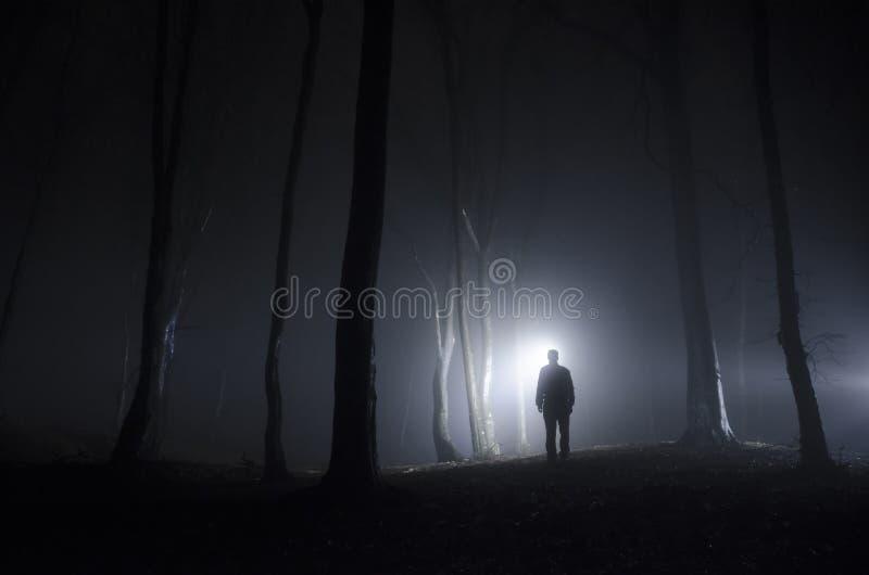 Hombre en bosque en la noche con niebla fotografía de archivo libre de regalías