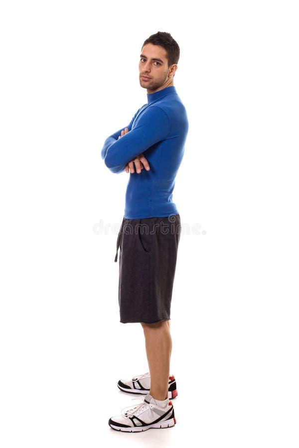 Hombre en camisa azul imagen de archivo libre de regalías