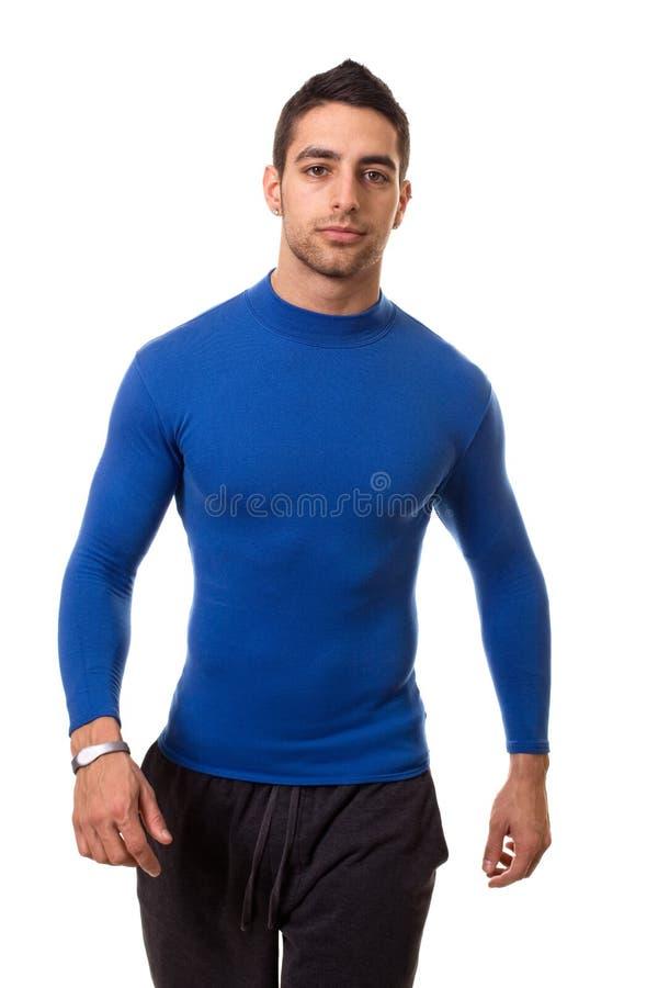 Hombre en camisa azul imagen de archivo