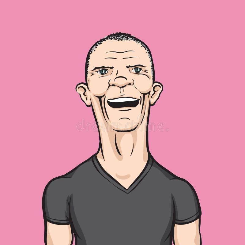 Hombre en camiseta negra stock de ilustración