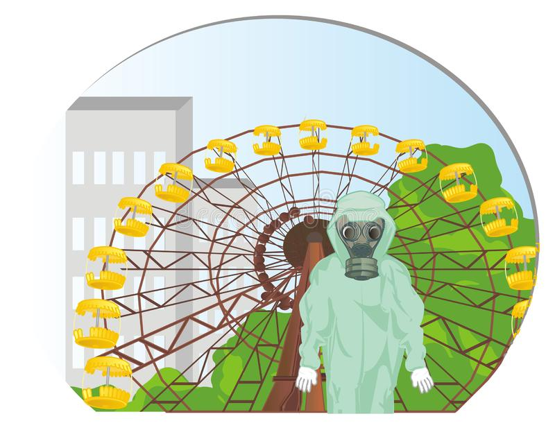 Hombre en Chernóbil stock de ilustración