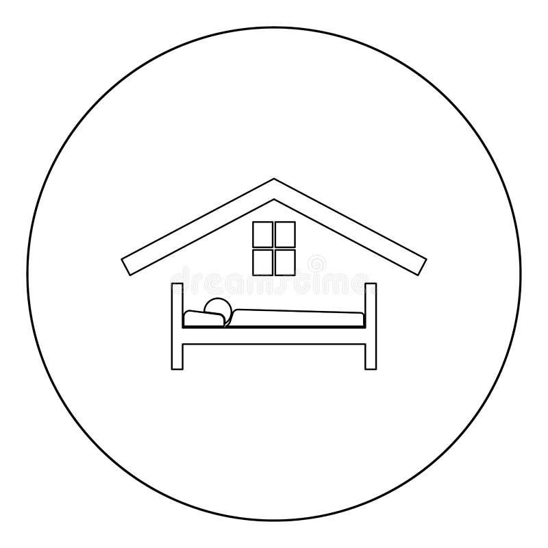 Hombre en color del negro del icono del hotel de la cama en círculo ilustración del vector