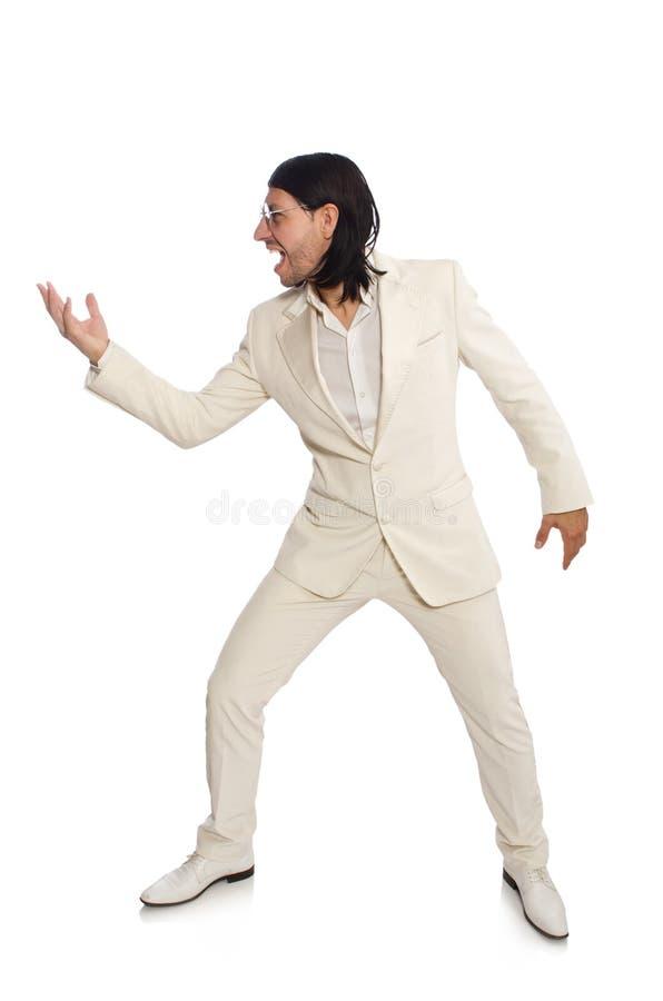 Hombre en concepto divertido aislado en blanco fotos de archivo libres de regalías